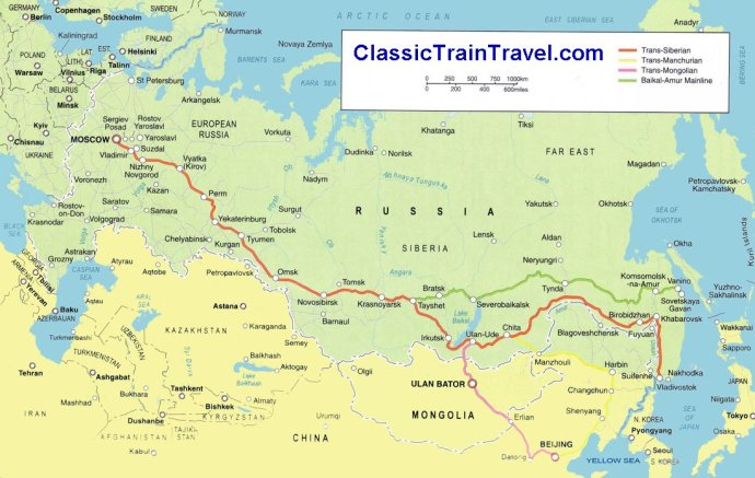 Mapa Classico Transiberiana