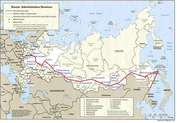 Mapa Transiberiano